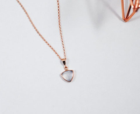 Ice Blue Chalcedony Trillion - Rose Gold