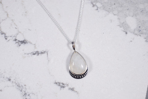 Teardrop Shaped Moonstone Necklace with Beaded Accent