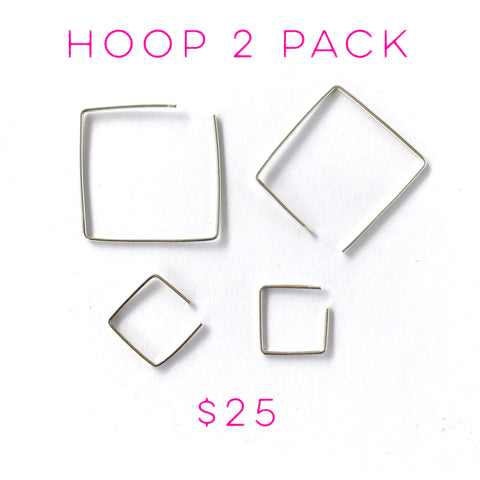 Square Hoop 2 Pack- Choice of Color