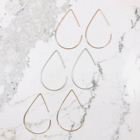 Pear Shaped Hoops- Large