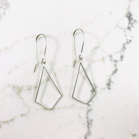Open Diamond Earring- Sterling Silver