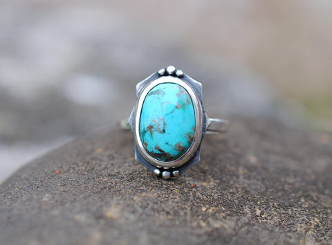 Oval Turquoise Ring with Beaded Accents