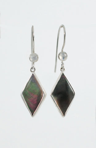 Gemstone Earrings- Mother of Pearl and Moonstone