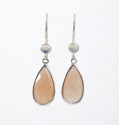 Gemstone Earrings- Peach and Rainbow Moonstone
