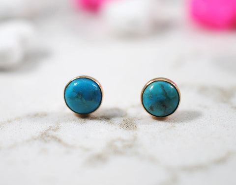 Turquoise Stud Earrings in Yellow Gold Filled