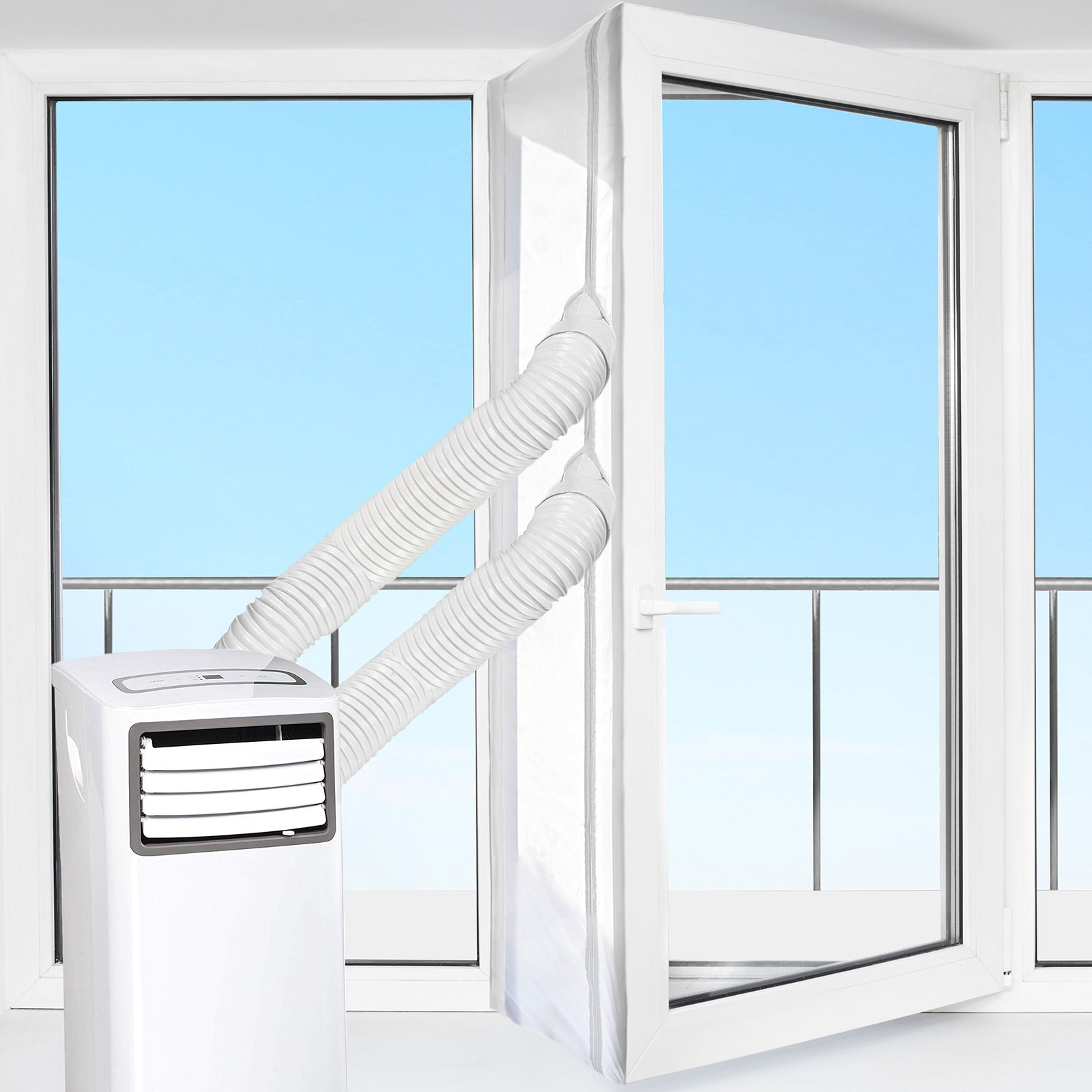 HOOMEE | Window Seal Kit for Portable Air Conditioner | Airlock works with every mobile Air-Conditioning Unit - Works both with Outward and Inward Opening Windows (Model #AL003)