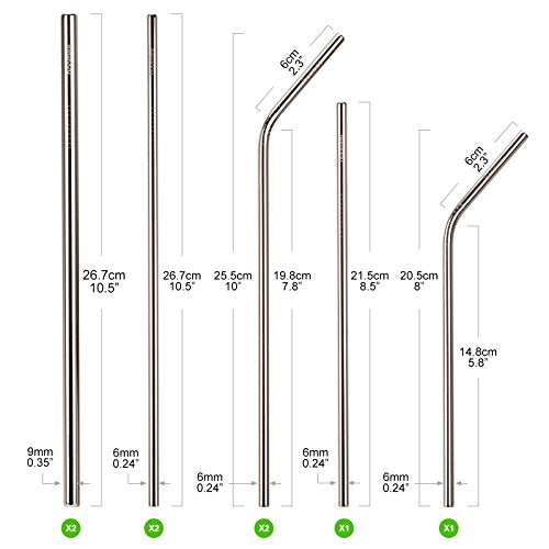 HOOMEE | Reusable Stainless Steel Straws (Set of 8) | Green Alternative to Plastic