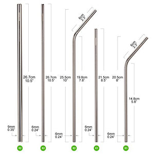 HOOMEE | Reusable Stainless Steel Drinking Straws (Set of 8) | Green Alternative to Plastic