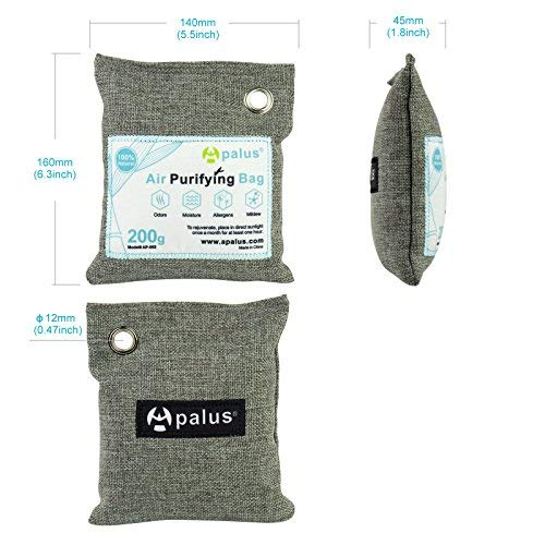 Apalus Air Purifying Bag For Closet And Kitchen Odor | Reusable Bamboo Activated Charcoal Air Freshener | Natural & Chemical Free (2x200)