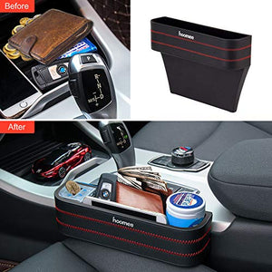 HOOMEE | Premium PU Leather Car Seat Side Pocket Organizer with Detachable Coin Collector | Set of 2