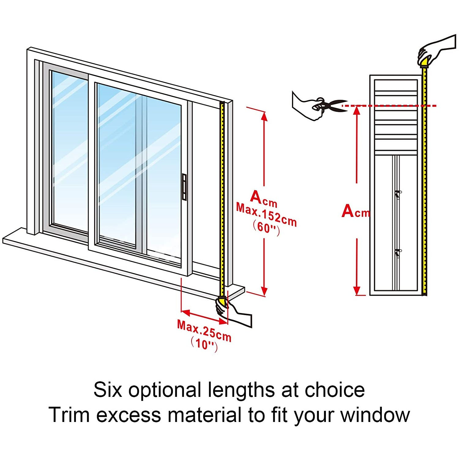 HOOMEE Adjustable Sliding Window Seal for Portable Air Conditioner and Tumble Dryer –Min Size 25x102 – Max Size 25x152 cm - Works with Sliding and Hung Windows, Easy to Install, Waterproof