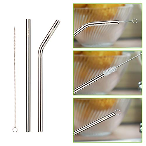 HOOMEE | Stainless Steel Straws | Reusable Extra Wide 9mm Drinking Metal Straws for Thick Smoothies | Set of 4 Straight and 4 Bend Straws