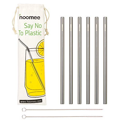 HOOMEE | Stainless Steel Straws | Reusable Extra Wide 9mm Drinking Metal Straws for Thick Smoothies | Set of 6 Straight Straws