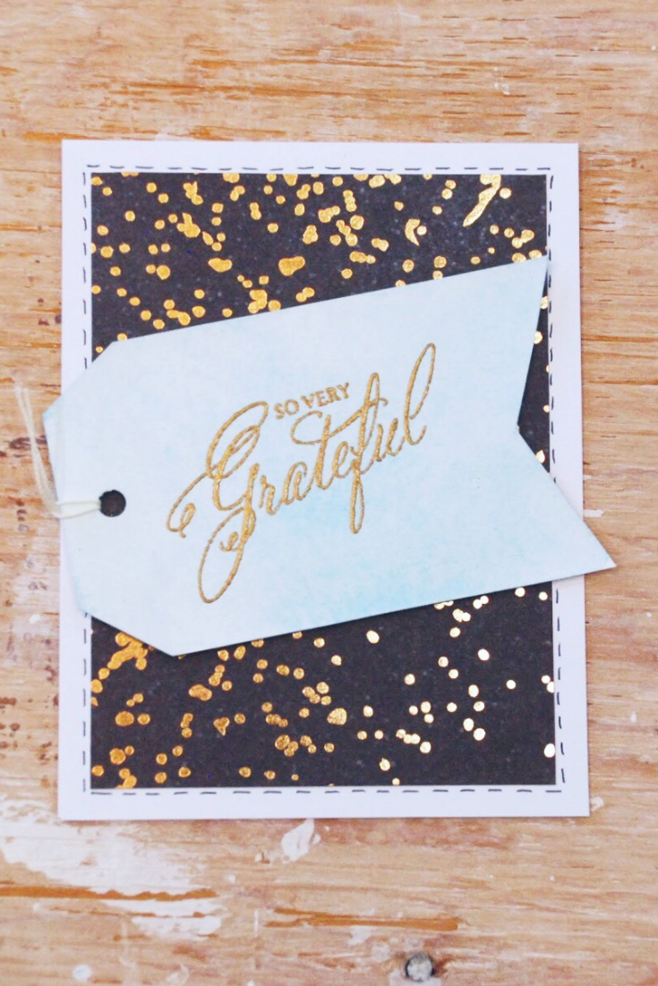 "Gratitude Bonanza | white & navy variant | handmade thank you card with ""so very grateful"" as sentiment 