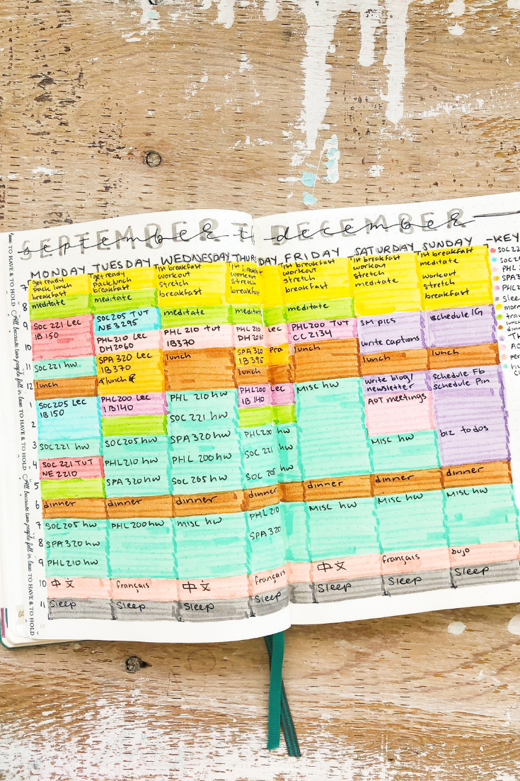 Master Timetable Example | 5 easy ways to organize your day | Thoughtfully Handmade