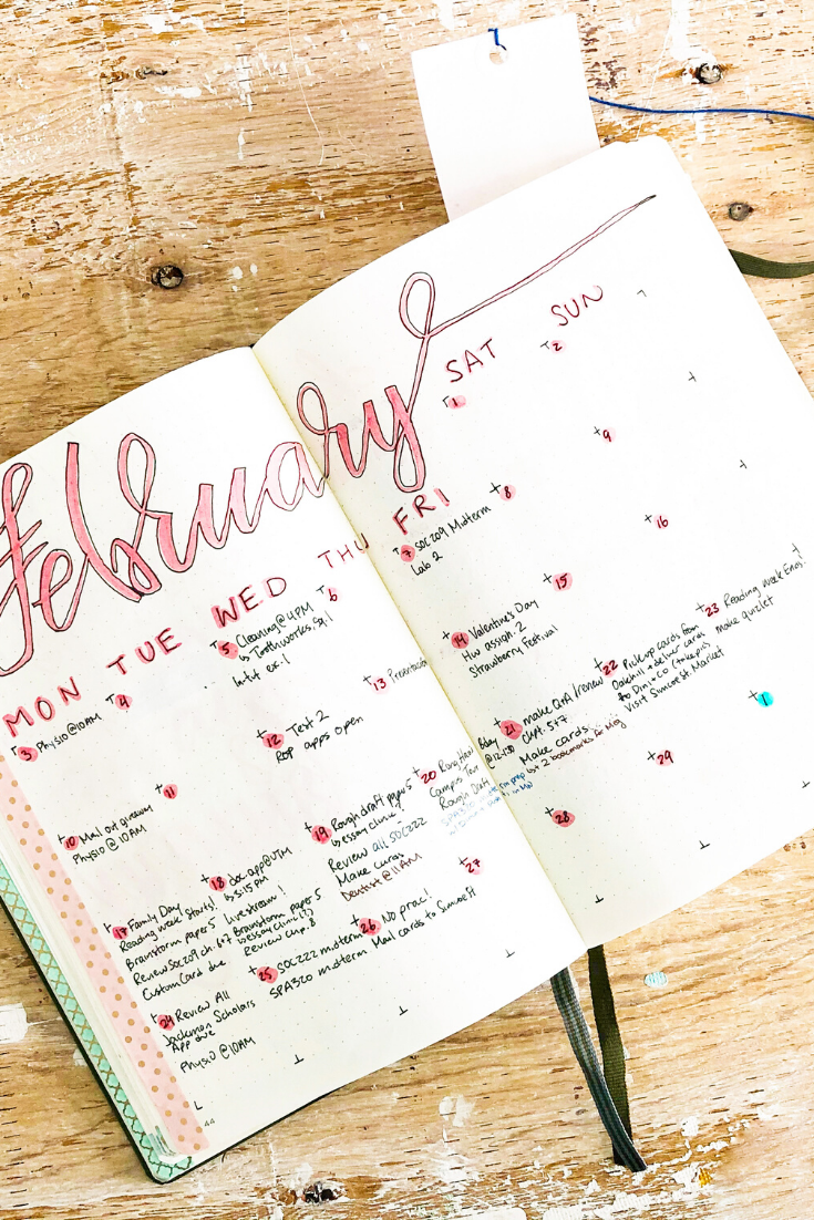Monthly Calendar Spread in Bujo | 3 Steps to Start a Bullet Journal | Thoughtfully Handmade