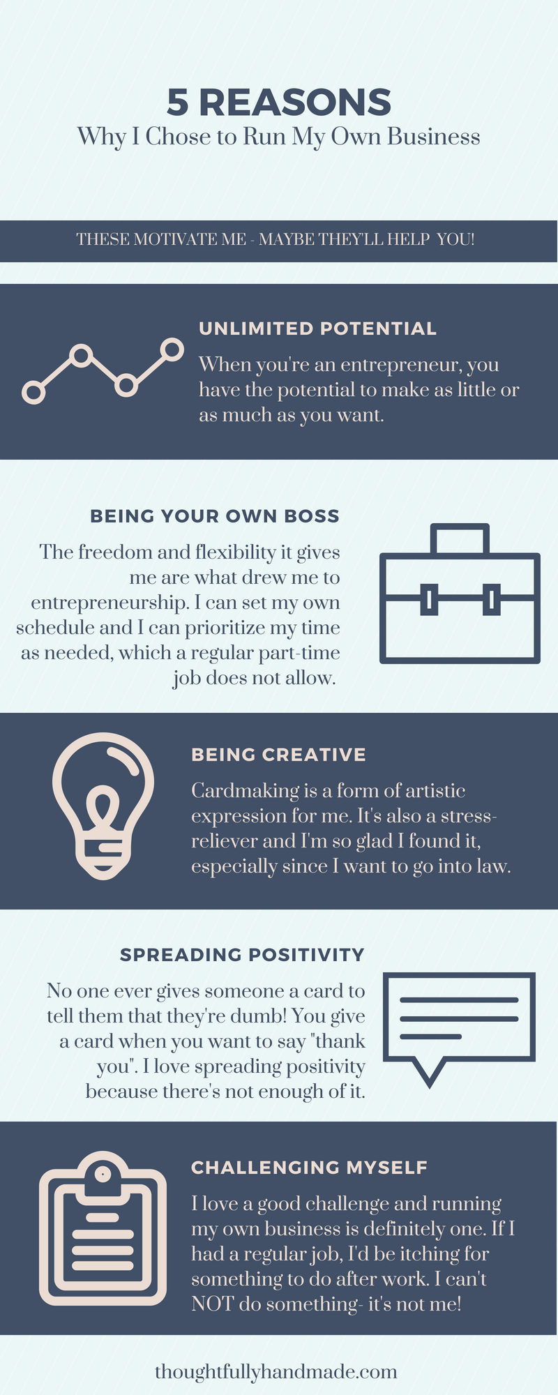 5 reasons why I chose to run my own business infographic| Thoughtfully Handmade
