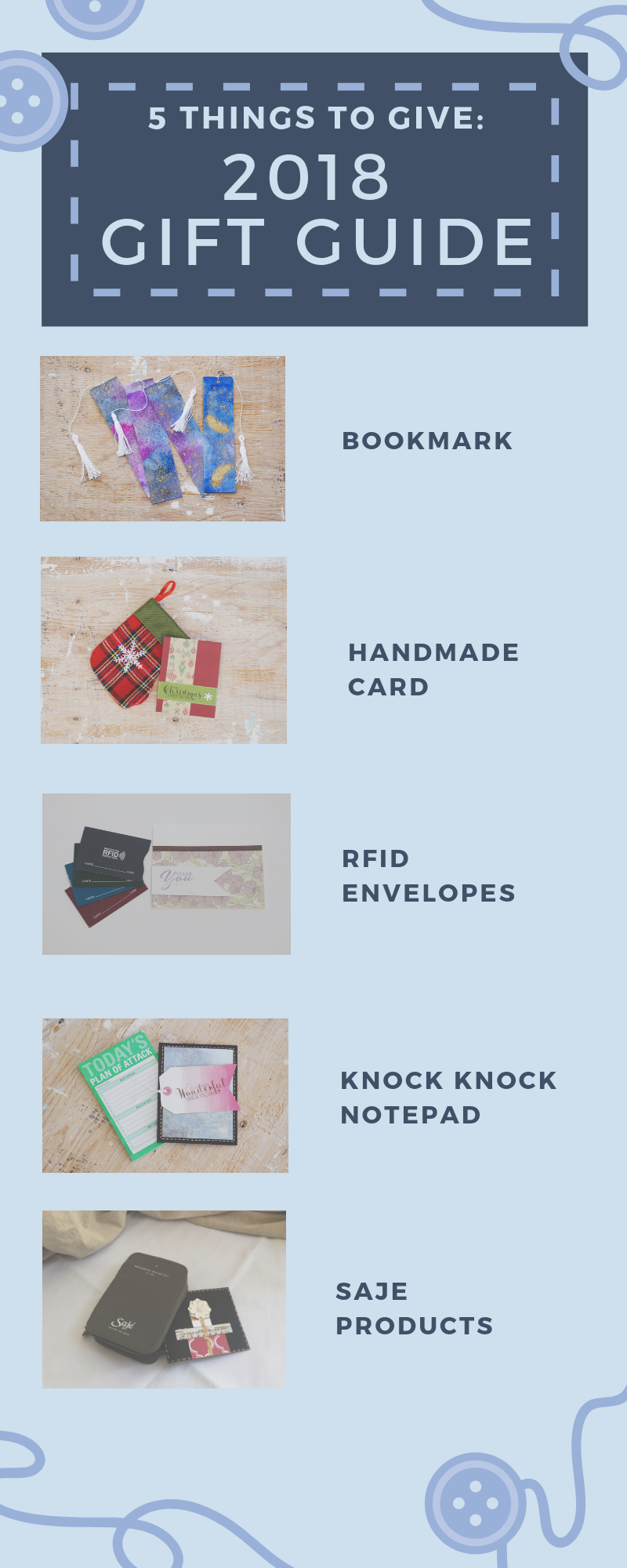 Infographic | 5 Things to Give: 2018 Gift Guide | Thoughtfully Handmade