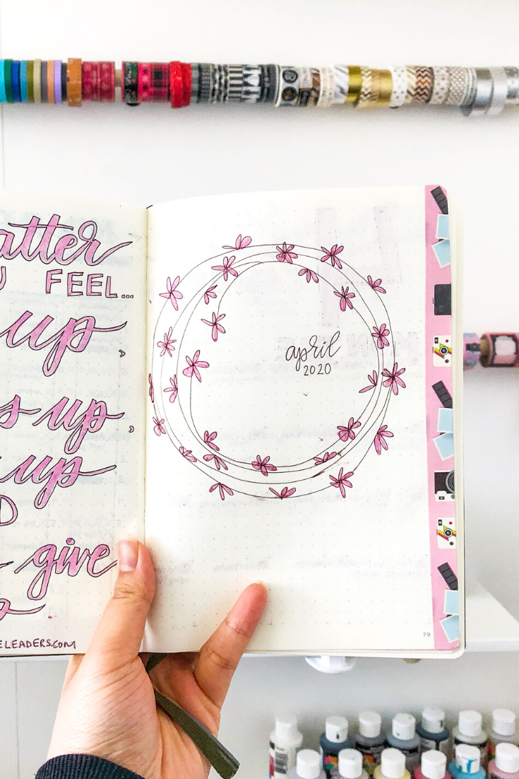 April Title Page Spread in Bujo | 3 Steps to Start a Bullet Journal | Thoughtfully Handmade