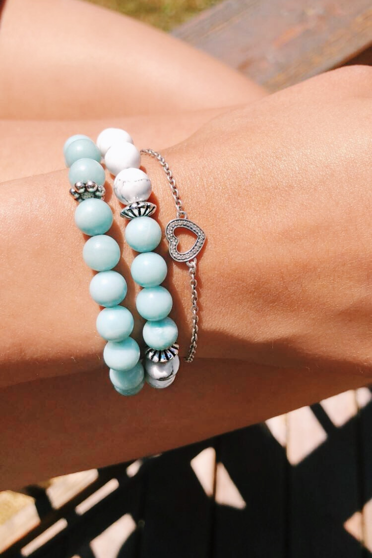 Earth Appeal | turquoise mala bracelets and ankles | 5 Things to Give: Mental Health Edition | Thoughtfully Handmade