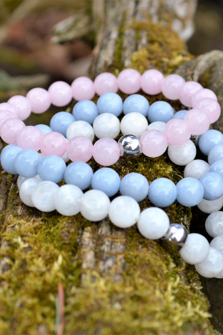 Grow Glow Co | handmade jewelry | pink, periwinkle and white bracelet stack | 5 things to give: Mother's Day Edition | Thoughtfully Handmade