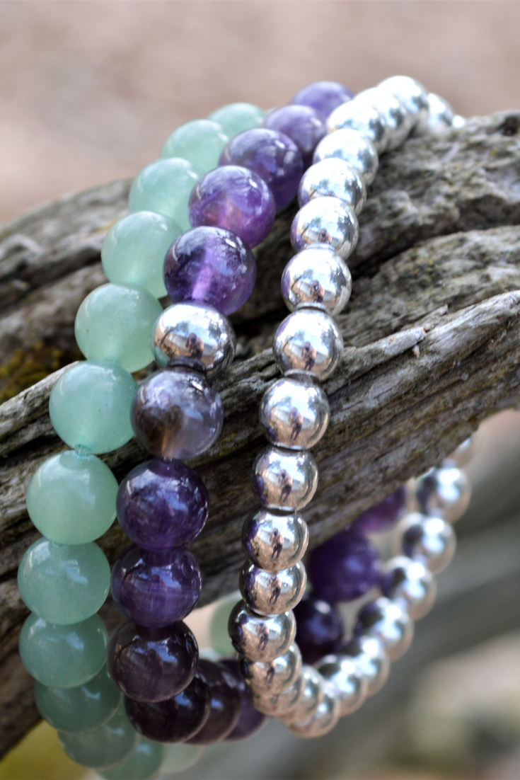 Grow Glow Co | handmade jewelry | green, purple, silver bracelet stack | 5 things to give: Mother's Day Edition | Thoughtfully Handmade