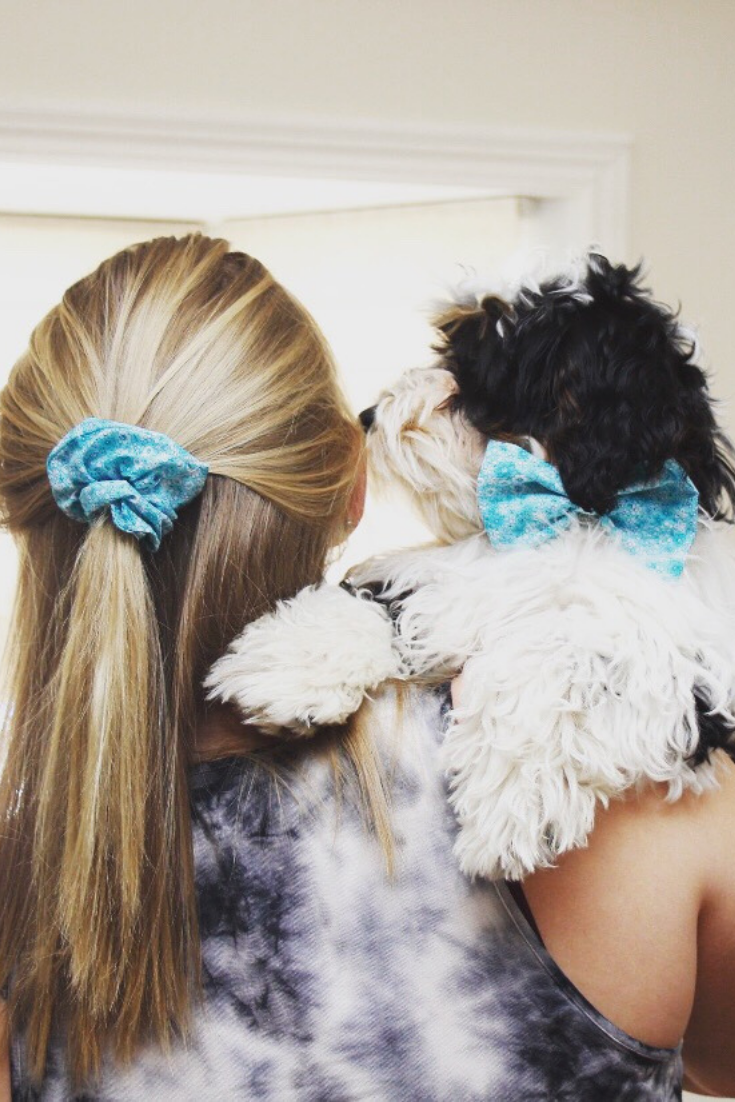 Happy Paws Company | handmade pet accessories | matching teal bow and scrunchie | 5 things to give: Mother's Day Edition | Thoughtfully Handmade