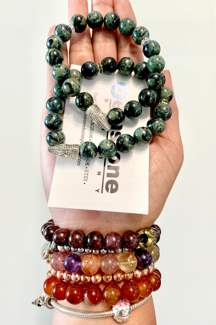 Jemstone Destiny | green & brown intention bracelets | 5 Things to Give: Mental Health Edition | Thoughtfully Handmade