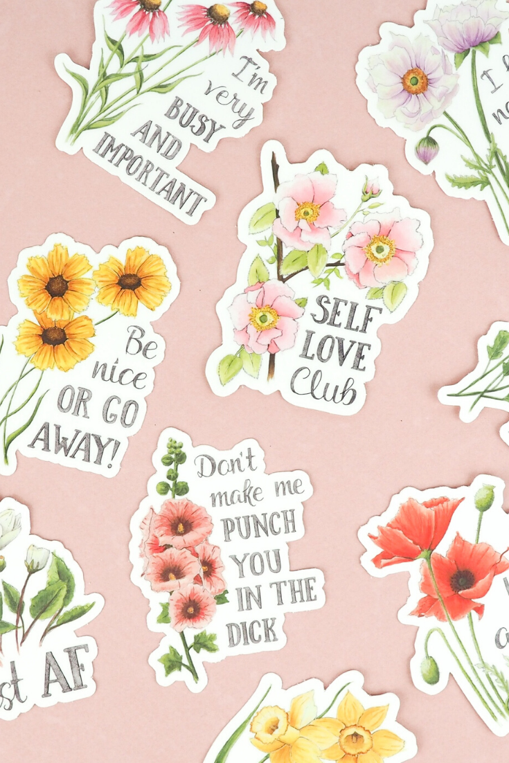 Naughty Florals | hand-drawn stickers | 5 Things to Give: Stationery Lover Edition | Thoughtfully Handmade