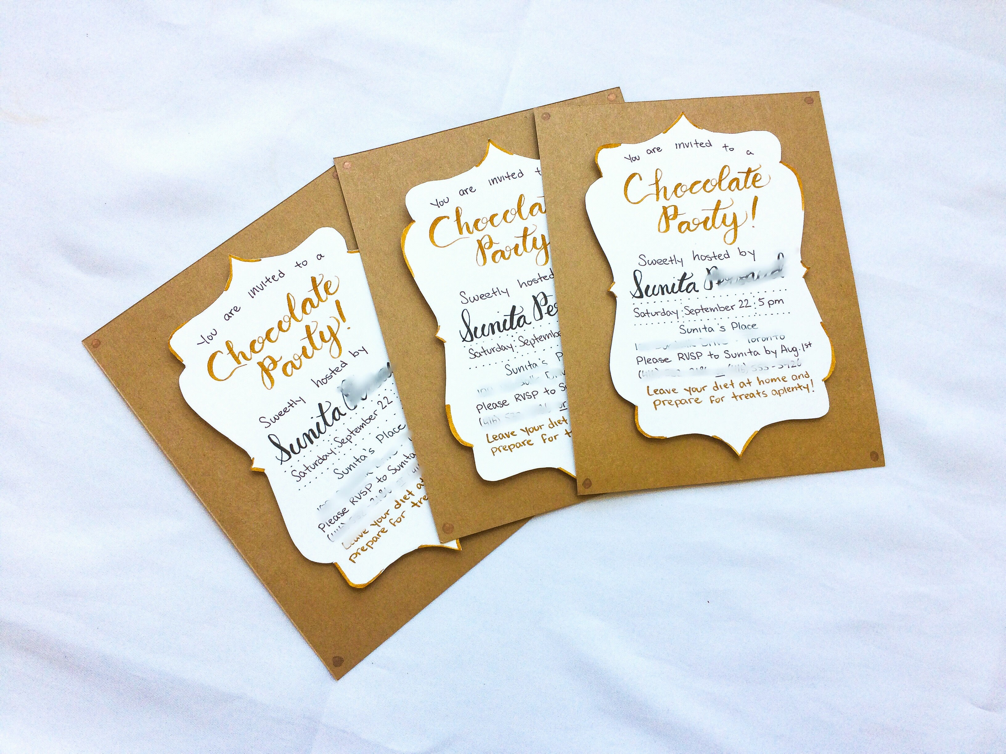 Chocolate-themed sweet 16 birthday party invitations | Thoughtfully Handmade