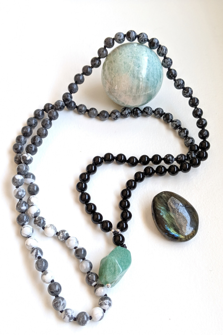 The Gem Next Door | brown & turquoise mala necklaces | 5 Things to Give: Mental Health Edition | Thoughtfully Handmade