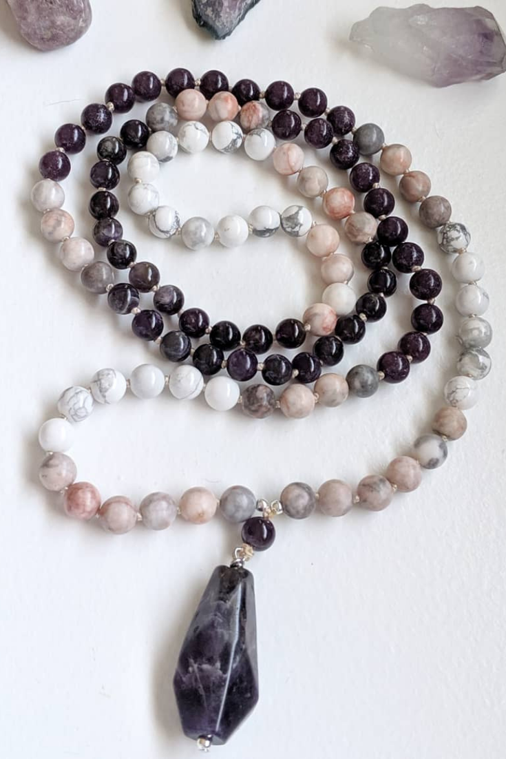 The Gem Next Door | plum & pastel pink mala necklaces | 5 Things to Give: Mental Health Edition | Thoughtfully Handmade