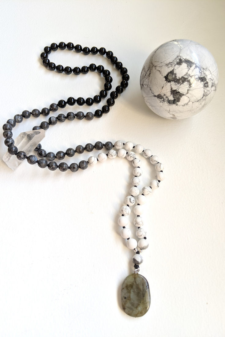 The Gem Next Door | black & white mala necklaces | 5 Things to Give: Mental Health Edition | Thoughtfully Handmade