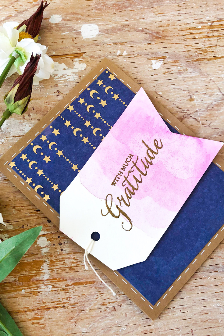 Gratitude Bonanza | handmade thank you card | navy background with gold stars and pink tag, with much gratitude sentiment | Thoughtfully Handmade