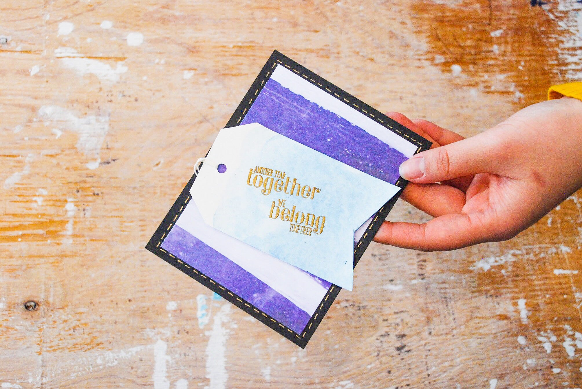 Anniversary Bonanza | handmade anniversary card | purple and white striped background with pale blue tag | another year together we belong together sentiment | Thoughtfully Handmade