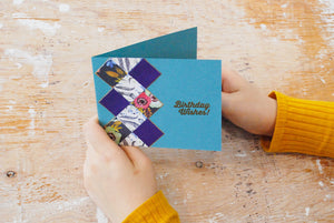 Argyle Wishes | handmade birthday card | argyle pattern on left side with teal background | birthday wishes sentiment | Thoughtfully Handmade