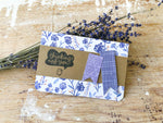 Be Gentle with Yourself | Handmade positivity self-love card | indigo floral background with 2 purple banners | thinking of you sentiment | Thoughtfully Handmade