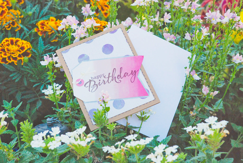 Birthday Bonanza | handmade birthday card | polkadot variant | purple polkadot background with pink tag | happy birthday sentiment | Thoughtfully Handmade