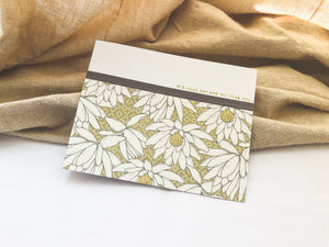 Bliss | birthday card set with 6 cards | card 2 of 6 | sage green floral pattern at bottom, lined with washi tape | it's your day and we love you sentiment | Thoughtfully Handmade