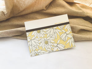 Bliss | birthday card set with 6 cards | card 4 of 6 | muted yellow floral pattern at bottom, lined with washi tape | happy birthday to you! sentiment | Thoughtfully Handmade