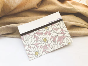 Bliss | birthday card set with 6 cards | card 5 of 6 | muted purple floral pattern at bottom, lined with washi tape | happy birthday to you! sentiment | Thoughtfully Handmade
