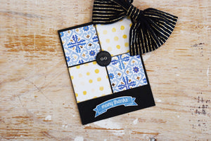 Casually Grateful | handmade summer thank you card | 3 blue & 2 yellow square design with button in the middle | many thanks sentiment | Thoughtfully Handmade