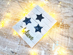 Fall Beautifully | Handmade positivity self-love card | white brick background with 3 dark grey stars | Just Believe sentiment | Thoughtfully Handmade