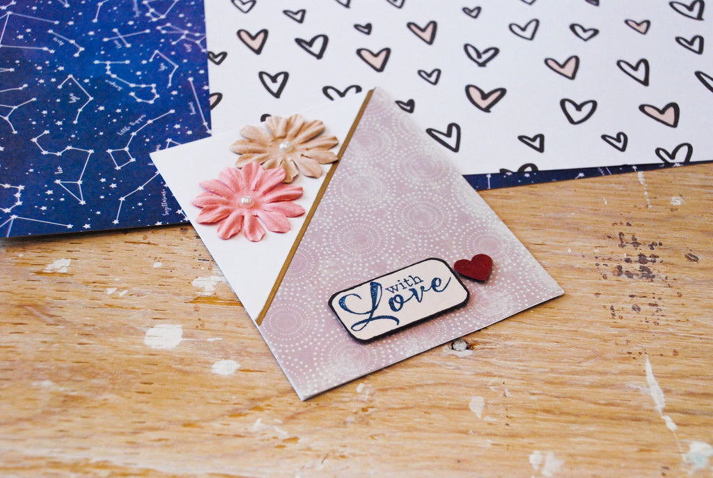Fallin | handmade Valentine's Day or anniversary card | asymmetrical triangle design, lilac colours with 2 flowers in top-left corner | with love sentiment | Thoughtfully Handmade