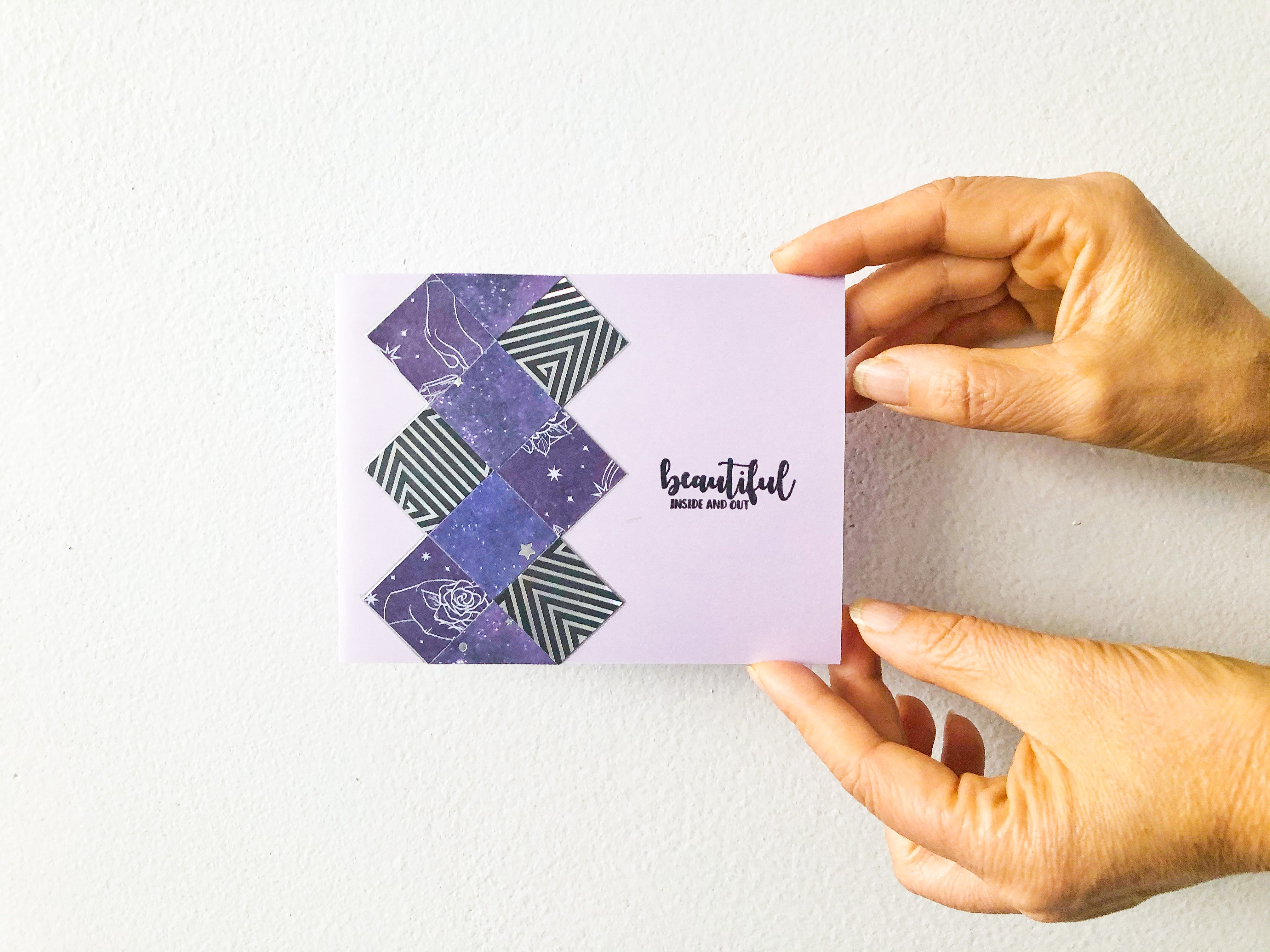 Glow Into the Night | Handmade positivity self-love card | purple, black & silver argyle pattern on left side; pastel purple cardbase | beautiful inside and out sentiment | Thoughtfully Handmade