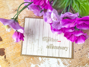 Golden | handmade anniversary card | wood background with gold sentiment | another year together... happy anniversary | Thoughtfully Handmade