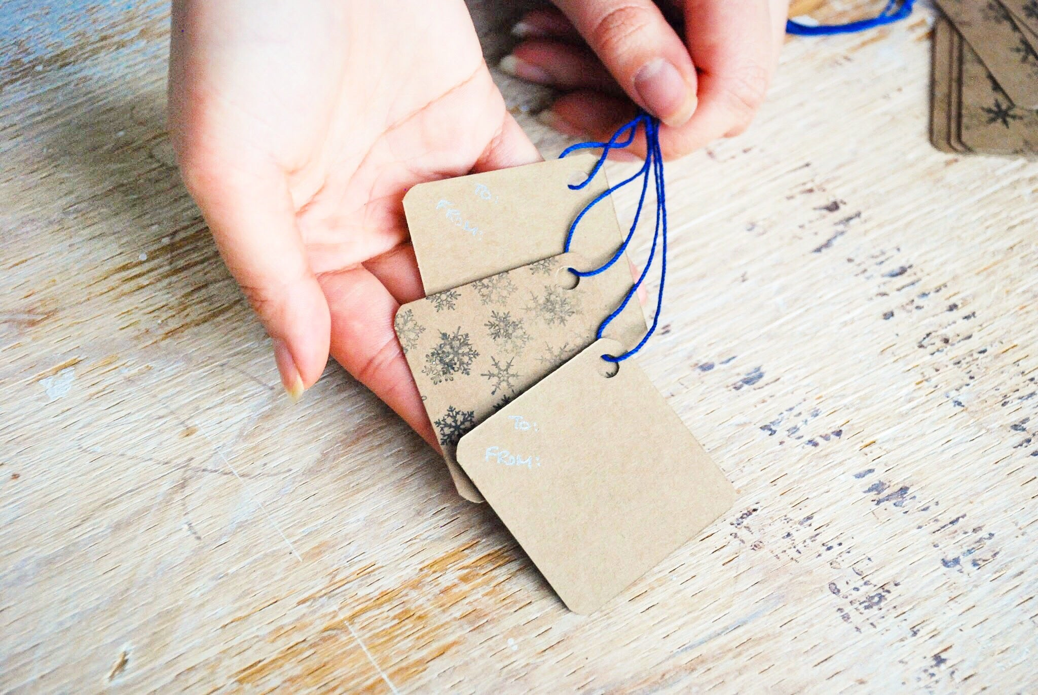 Holiday | handmade gift tags | kraft tags with snowflakes print | set of 10 | Thoughtfully Handmade