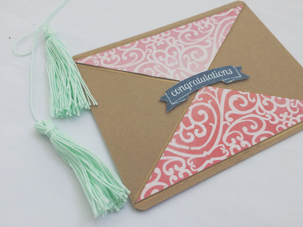Bohemian Whirl | handmade congratulations card | hot pink swirl pattern triangle design with banner in middle | congratulations sentiment | Thoughtfully Handmade