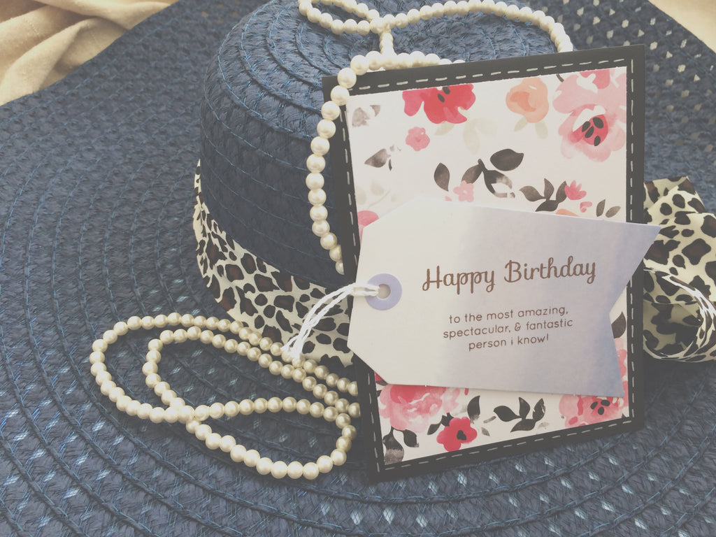 Birthday Bonanza | handmade birthday card for girlfriend | floral variant | pink floral background with blue tag | happy birthday sentiment | Thoughtfully Handmade
