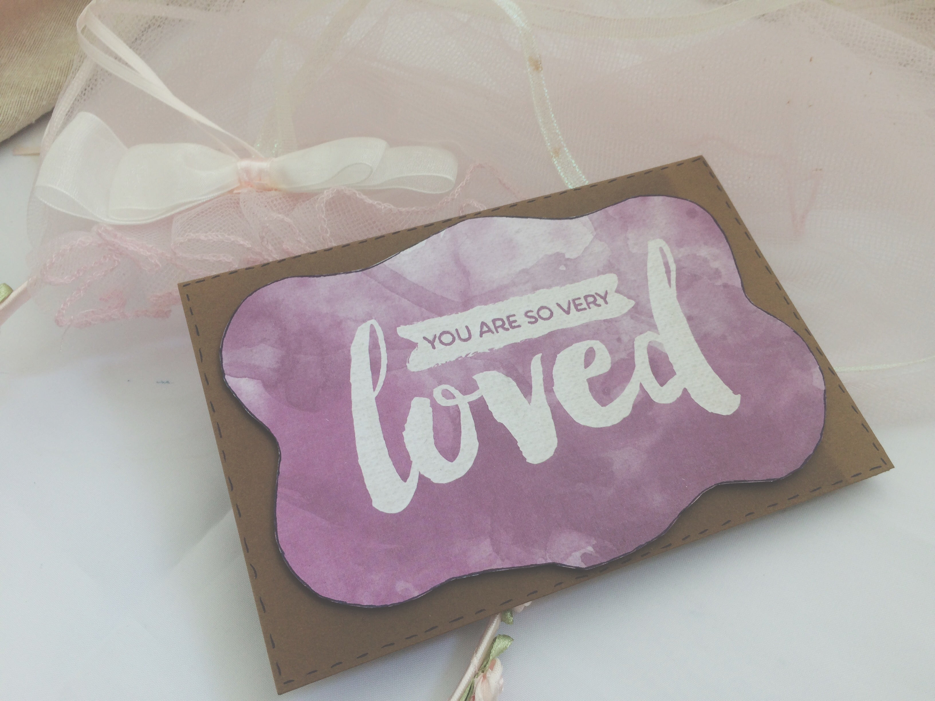 purple variant of Puddle of Love handmade Valentine's Day card by Thoughtfully Handmade